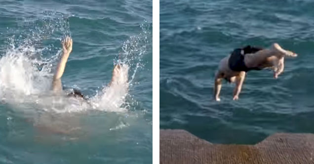 a person drowning in water and a man jumping in to save him