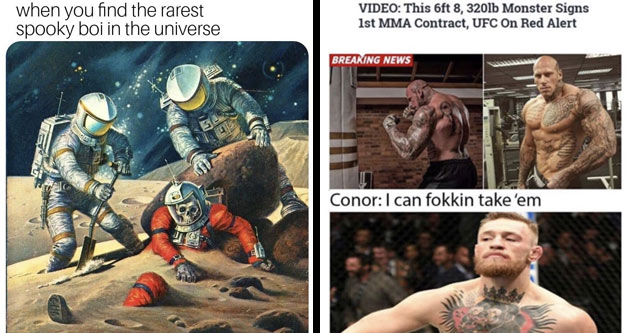 a meme with astronauts finding a skeleton on mars with text about a rare spooky boi and conor mcgregor saying he can take some man 3x his size