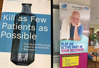 Book titled 'Kill as Few Patients as Possible' and a meme man in a hospital poster.