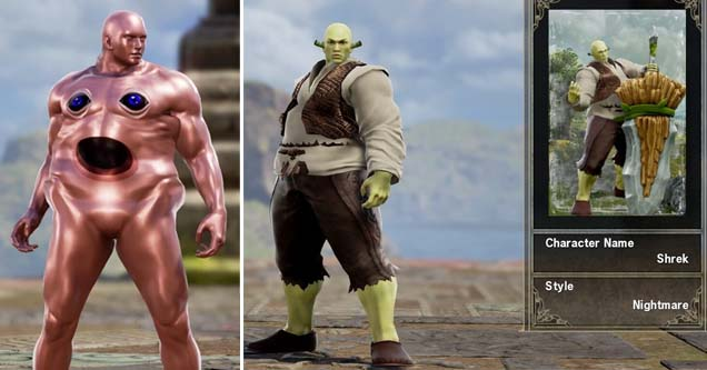 kirby as created in soul calibur 6 and shrek as created in soul calibur 6
