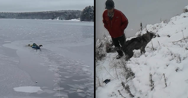 A man crawls and rips through ice on top of a lake as he makes his way to save a dog that fell through in Russia in 2018.