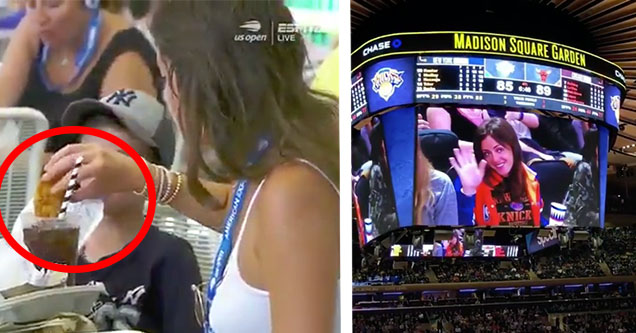 Woman at US Open dunking chicken into soda. Woman on New York Knicks jumbotron waving after being embarrassed.