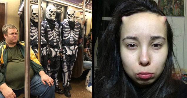 three guys wearing skeleton outfits on the subway and a girl with horns implanted under her skin on her forehead