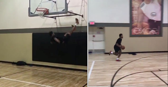 Guy flipped after failed dunk attempt.