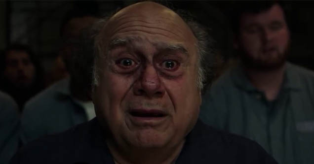 danny devito looking emotional into the camera on always sunny
