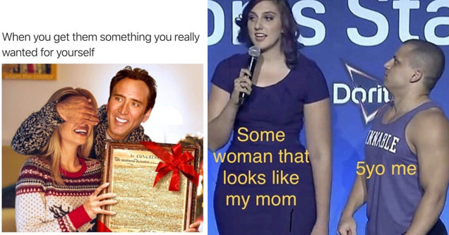 nick cage giving a gift that's the declaration of independence while holding the eyes of a blonde haired lady