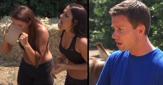 two brunette haired girls in black tank tops are doing a challenge on fear factor drinking donkey urine and sperm and a man in a blue shirt making a shocked and disgusted face