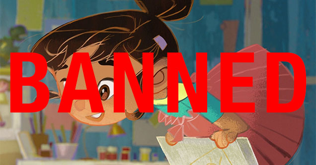 a cartoon girl with the word banned on her face