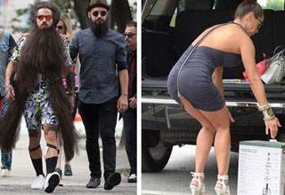 a man with a very long beard walking next to two other men and a woman whos dress is coming unzipped as she bends over to pick up a box