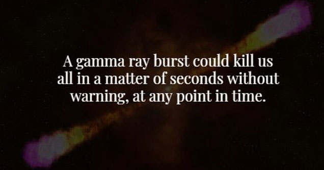a photo of an explosion inspace with text about a gamma ray burst could wipe out the universe at any time without warning