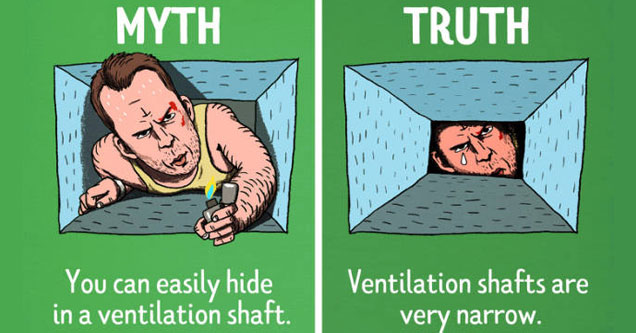 a cartoon illustration of bruce willis from die hard climbing through a vent and how its not possible