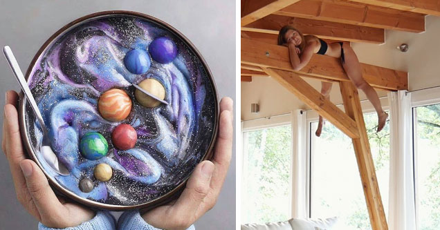 a person holding a bowl of food that looks like planets and the galaxy in space and a girl laying across rafters in the roof