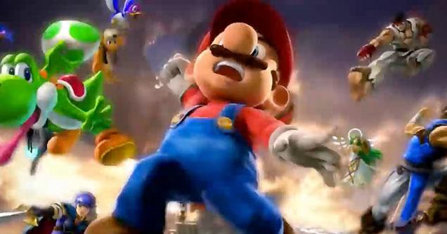 Mario, Yoshi, Ryu, Ken and more in a screenshot from Super Smash Bros