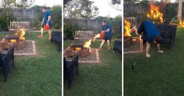 guy accidentally sets fire to moms garden.