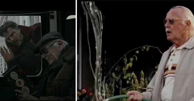 stan lee with doctor strange looking at him and stan lee holding a hose with water shooting upwards