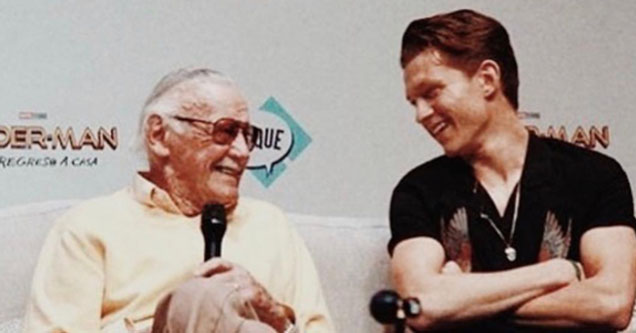 Tom Holland and Stan Lee.