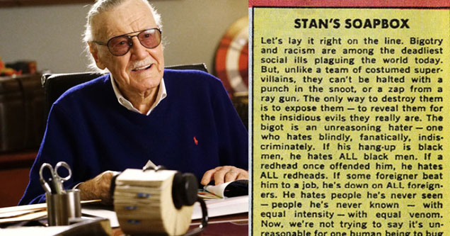 Stan Lee's Statement on Bigotry and Racism From 1968 Is As Powerful As Ever