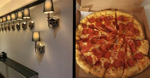 Lights out of order. Poorly cut pizza slices.