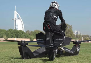 a police officer riding a flying hover bike