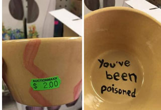 A bowl that says you've been poisoned at the bottom.