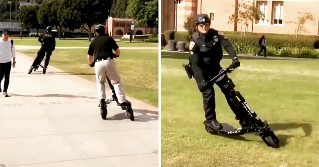 a cop on a futuristic scooter going on grass at UCLA