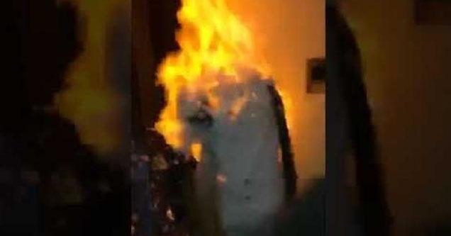 Guy gets set on fire.