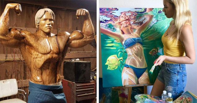 a wooden carving of arnold schwarzenegger and a blonde girl standing next to her painting of a girl in a blue bikini swimming in the pool