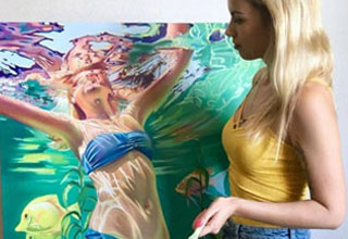 a blonde girl standing next to her painting of a girl in a blue bikini swimming in the pool