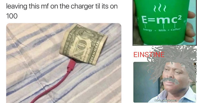 a dollar being plugged in to charge it up to 100