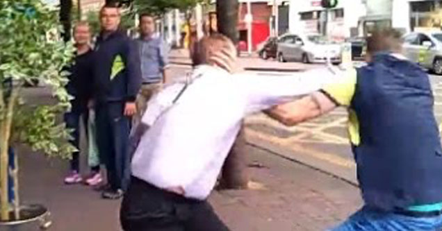 Bouncer fighting two guys.