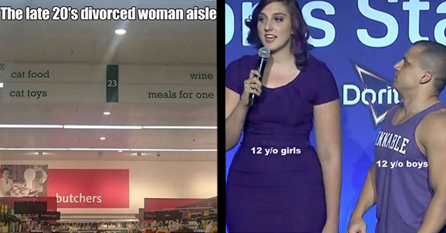 grocery store aisle cat food cat toy wine and meals for one. girl and tyler1 12 year old boys looking at 12 girl.