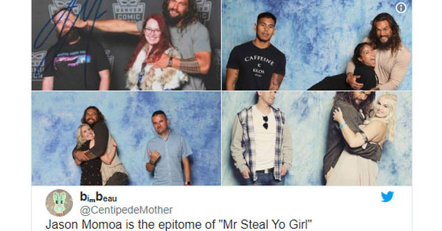 jason momoa khal drogo from game of thrones is hugging the woman in multple couples photos