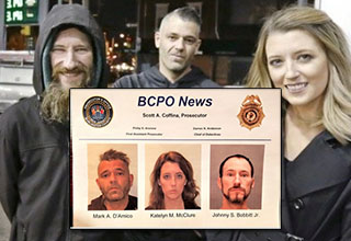 Couple who started gofundme with homeless vet. mugshots for couple and homeless vet.