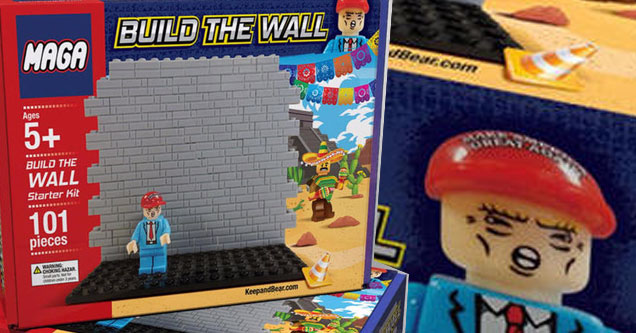 a lego knock off set with president trump and build the wall