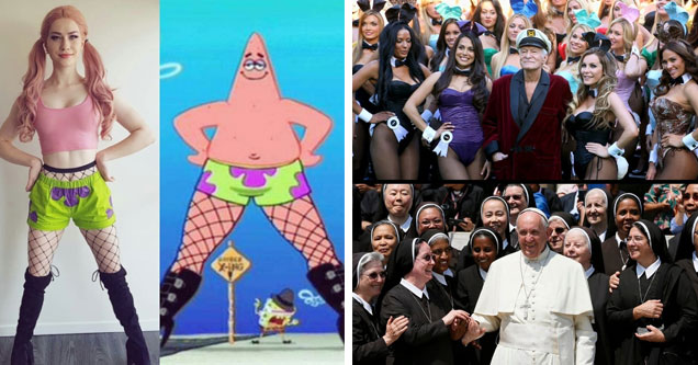a girl dressed up like patrick starfish from spongebob wearing booty shorts and fishnets and black boots and hugh hefner with playmates and the pope with nuns