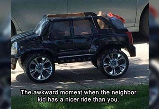 Kid's toy drivable car that is nicer than your car.