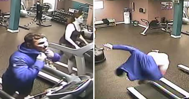 a man running on the treadmill taking his hoodie off and then a man in a blue hoodie about to slam into the ground after falling on a treadmill