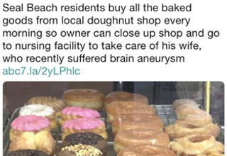 a photo of donuts with text about residents buying up all the donuts so his owner could be with his sick wife