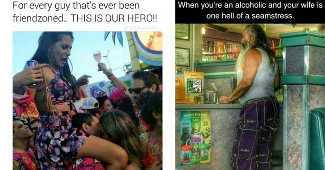 a meme about being friendzoned with a woman sitting on top of a mans shoulders who is kissing a woman in the crowd and a man wearing pants made from sewn together crown royal bags