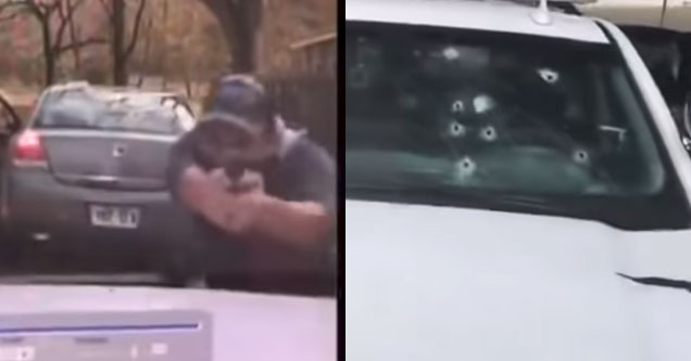 a suspect firing bullets at a police officer and his vehicles windshield with several bullet holes in it