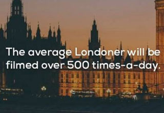 a photo of london at sunset with text about the average londoner being filmed over 500 times a day