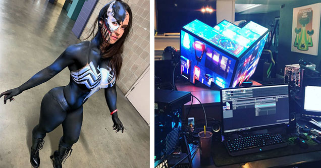 a woman in body paint as venom and a cool illuminated cube in an office