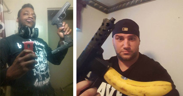 Some guys showing their guns.