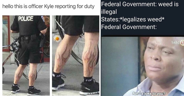 A meme about a guy with flame tattoos, and a legalizing weed.
