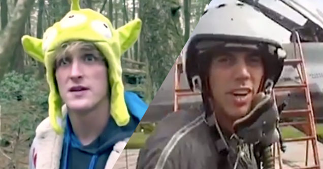 Logan Paul with alien hat. Steve-o as a pilot.