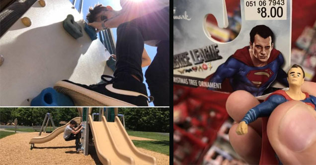 A guy on a slide, and a poorly made doll.