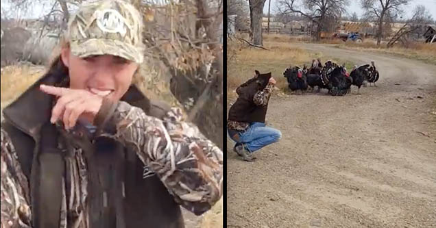 A young man wearing a camouflage shirt and hat is laughing after getting a rafter of turkeys to come to his call.