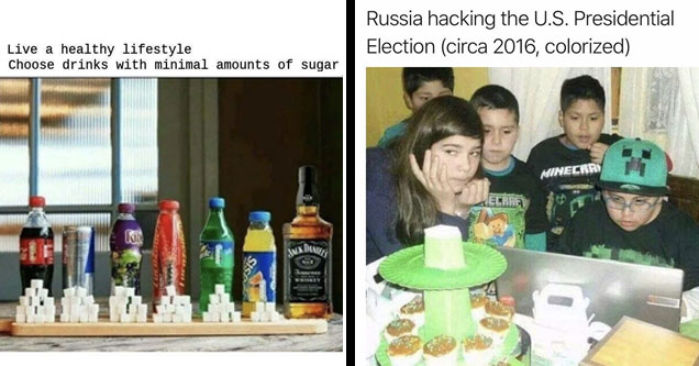 a meme with a bunch of sodas showing how much sugar is in them and a bottle of jack daniels with text that says live a healthy lifestyle choose drinks with less sugar and a group of kids in minecraft gear with text that says russia hacking the us election