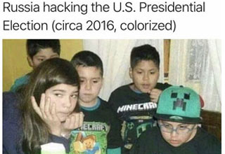 a group of kids in minecraft gear with text that says russia hacking the us elections of 2016