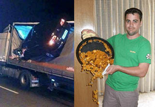 Car crashes inside semi. Man showing off food as it spills.